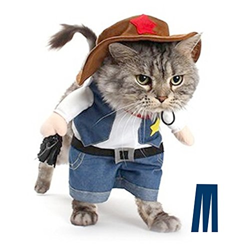 Mikayoo Pet Dog Cat Halloween Costumes,The Cowboy for Party Christmas Special Events Costume,West Cowboy Uniform with Hat,Funny Pet Cowboy Outfit Clothing for Dog cat(M)]()