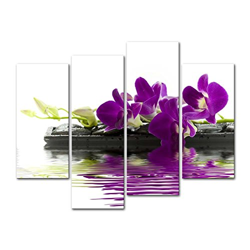 So Crazy Art - Canvas Print Wall Art Painting For Home Decor,Beautiful Purple Orchids Phalaenopsis Flowers On Black Stones And Drops In Water Butterfly Orchid 4 Piece Panel Paintings Modern Giclee Stretched And Framed Artwork The Picture For Living Room D by So Crazy Art