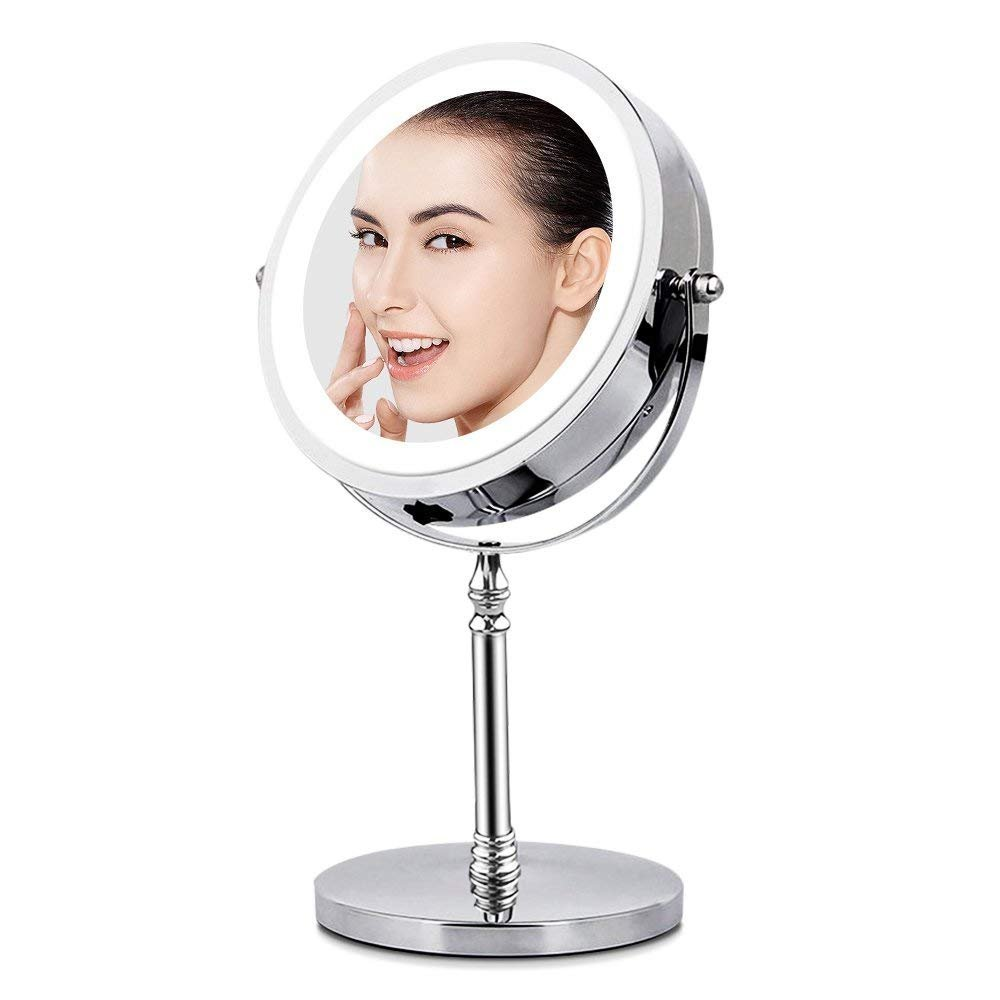 BRIGHTINWD Vanity Mirror with Light, Makeup Mirror 10X Magnification Lighted Tabletop Magnifying Mirror,Double Sided, 360 Rotation, Polished Chrome Finish