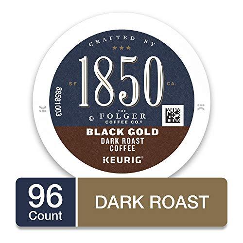 1850 by Folgers Black Gold Dark Roast Coffee, 96 Keurig K-Cup Pods