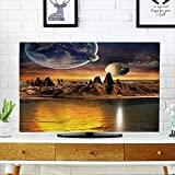 Front Flip Top Alien Planet with Planets,Earth Moon and Mountains D Rendered Computer Artwork Elements Front Flip Top W30 x H50 INCH/TV 52''