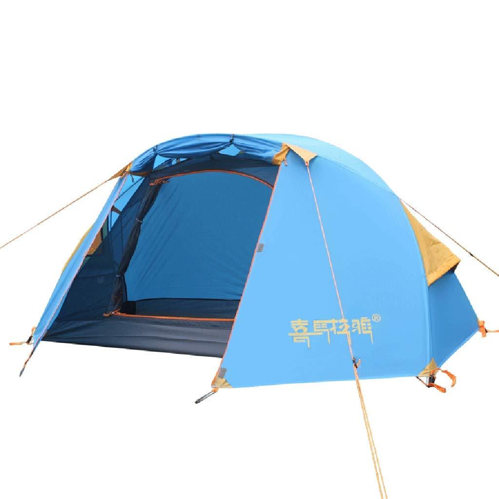 ALUP- 屋外個人テント雨天超軽量1人四季生アルミ棒ダブルレイヤフィールドキャンプアカウント  青 B07QCRQ99V
