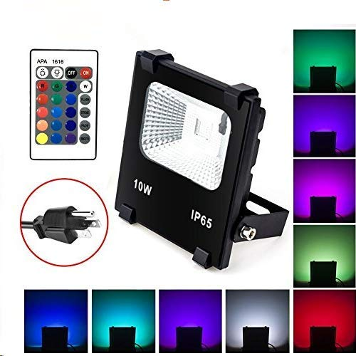 (Big Sale)10W RGB LED Flood Lights, Waterproof Outdoor Color Changing LED Security Light with Remote Control, Dimmable Wall Washer Lights with US 3-Plug]()