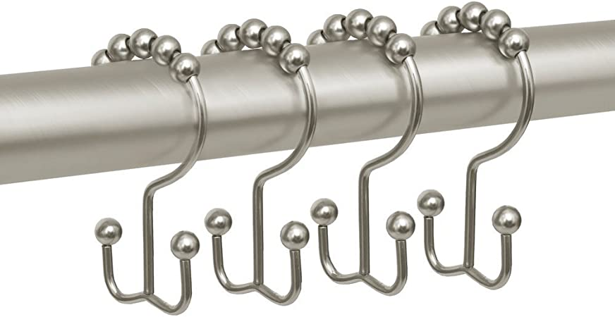 12 Brushed Nickel Bathroom Shower Curtain Rings Hooks with Roller Balls Set