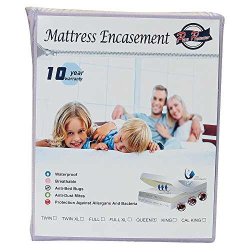PURE PROTECTOR Zippered Mattress Encasement, Lab Testes Bed Bug Proof, Dust Mite Proof, Waterproof, Breathable, Noiseless, Vinyle Free, Queen Size 60x80+11 (fits 11-14inch H) (LIGHT PURPLE)