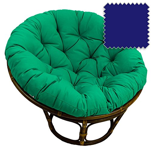 42-Inch Bali Rattan Papasan Chair with Cushion - Solid Twill Fabric, Royal Blue - DCG Stores Exclusive - Natural College Wood Blue