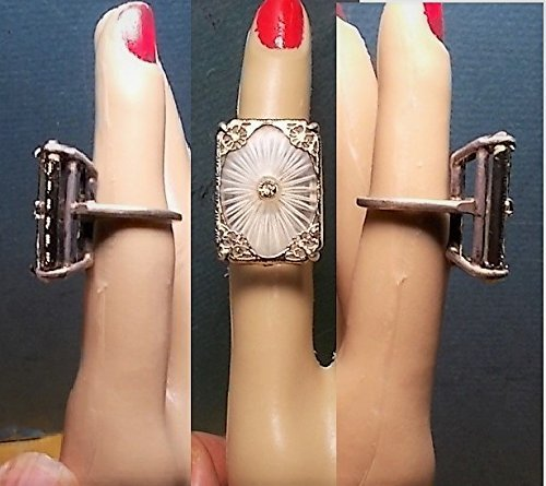 - 1 Vintage Large Camphor Glass Ring, Size 5, in Vintage Sterling Large Raised Basket Prong Ring of Depression Era Camphor Glass in Rhodium