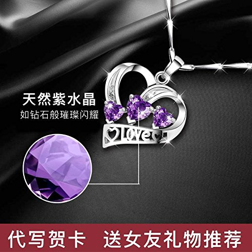 Generic Hot_ 925 sterling silver necklace pendant women girl Korean simple _Amethyst_ pendant necklace _Platinum_Japan_and_South_ Korea clavicle chain birthday Valentine's _Day by Generic