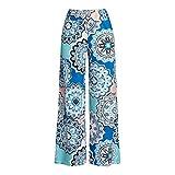 DaoAG-Summer - Pantalones de Mujer con Estampado Floral, Cintura Ancha, Pantalones de Palazzo para Yoga, Pantalones Largos