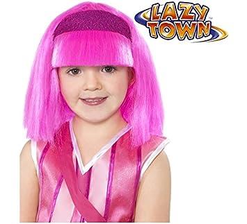 Peluca de Stephanie LazyTown rosa infantil con diadema ...