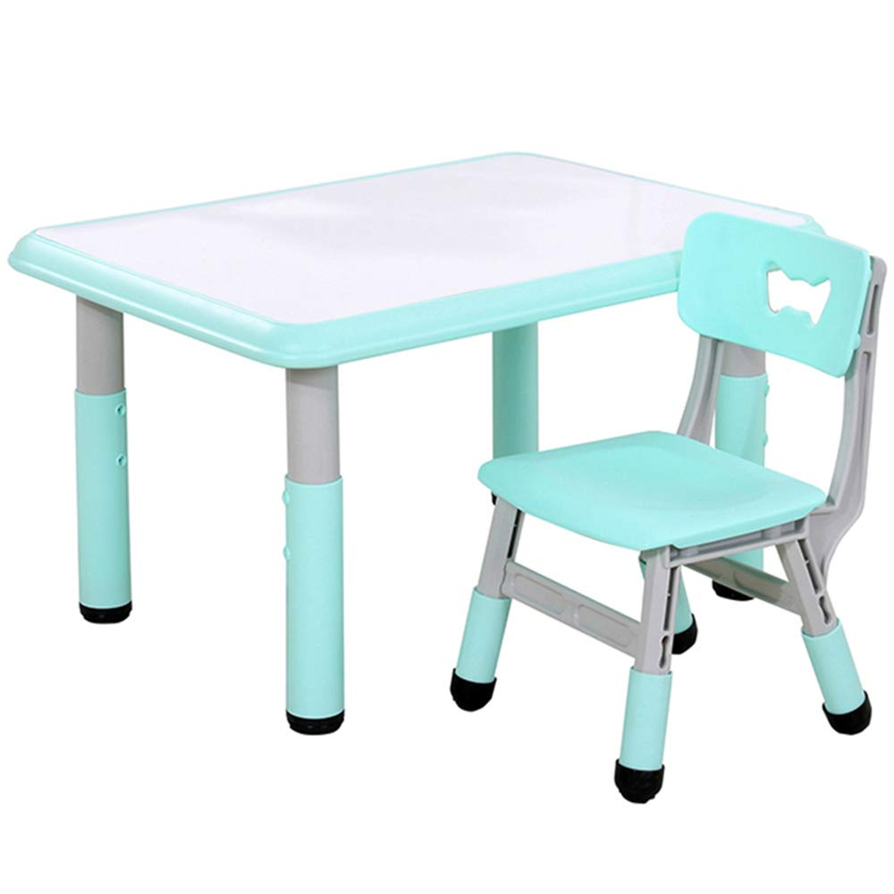Folding table and chair Tisch- Und Stuhlset FüR Kinder, Tragbarer HöHenverstellbarer AktivitäTstisch, Babyspieltisch, Geeignet FüR Schlafzimmer, Garten Im Freien, Camping Grün 60 x 80cm table+sketchpad+1 chair