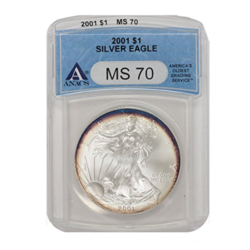 2001 American Silver Eagle $1 MS70 ANACS Rainbow Toning