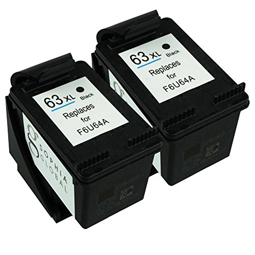 Sophia Global Remanufactured Ink Cartridge Replacement for HP 63XL (2 Black)