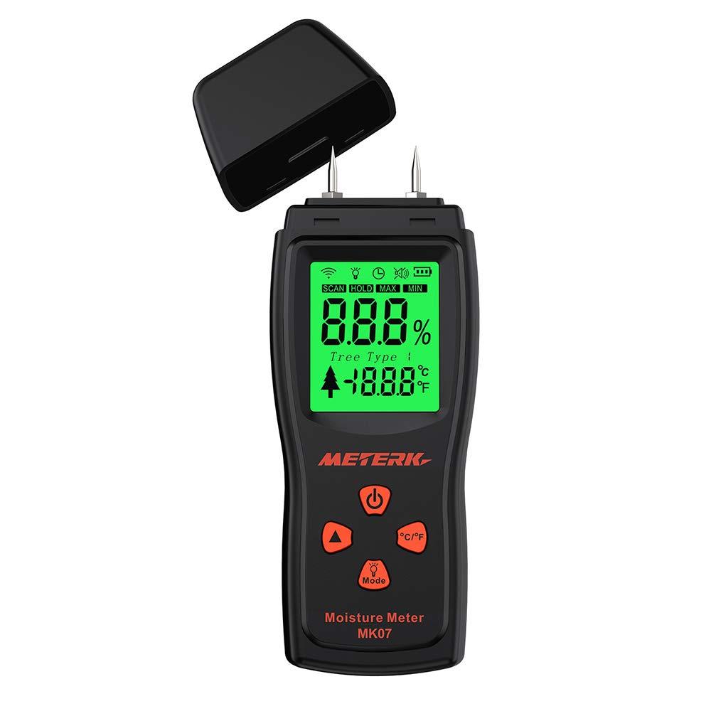 Meterk デジタル木材水分計 湿度検出器 含水率検出器デジタルLCD表示 木材水分テスター ハンドヘルド 軽量 小型 携帯便利 2ピンプローブ 範囲2%〜70% 作業用