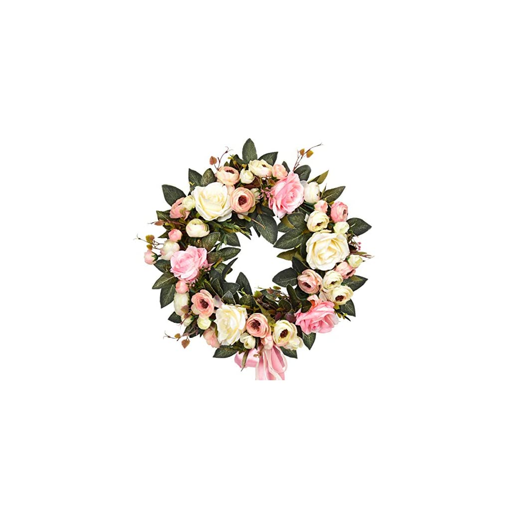 Sunm Boutique Rose Floral Twig Wreath, 14″ Handmade Silk Rose Flower Door Wreath with Green Leaves, Vintage Artificial Flowers for Front Door Wedding Wall Home Decor