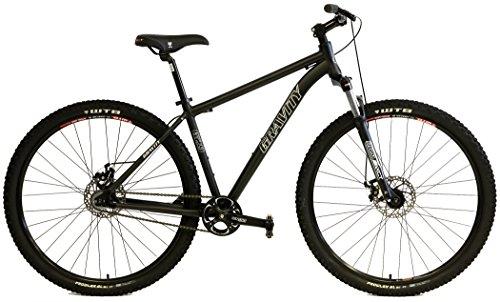 Gravity G29 FS 29er Single Speed Mountain Bikes + Lock Out Suspension Fork Disc Brakes (Matt Black, 19