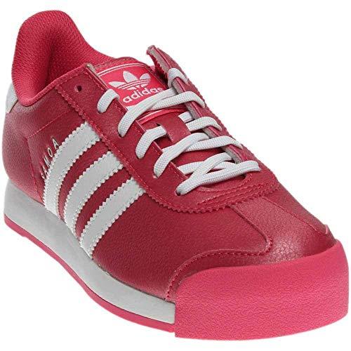 adidas Girls' Samoa J Running Shoe, White/Bahia Pink S, 6 M US Big - Kids Adidas Retro