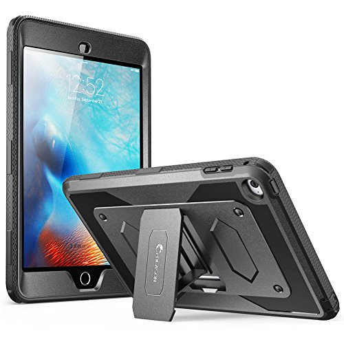 iPad Mini 4 Case, [Heave Duty] i-Blason Apple iPad Mini 4 2015/2018 Armorbox [Dual Layer] Hybrid Full-Body Protective Kickstand Case with Front Cover and Built-in Screen Protector/Bumpers (Black) (Ipod 4 Front Screen)