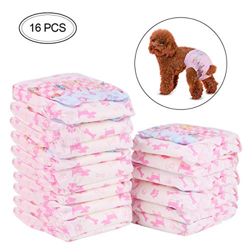 FancyWhoop Dog Sanitary Pants Disposable Female Dog Diapers,Puppy Nappies-16Pack (S:3-5KG)