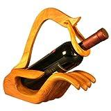 EXP Handmade Teak Wood Wine Bottle Holder, Cupped Hand Design (Thailand)