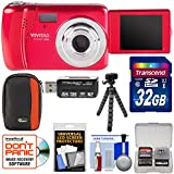 Vivitar ViviCam VXX14 Selfie Digital Camera (Red) with 32GB Card + Case + Flex Tripod + Reader + Kit