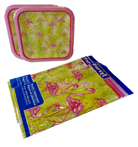 Party Pack Summer Pink Flamingo Square Party Paper Plates (28) & Plastic Tablecovers (2)