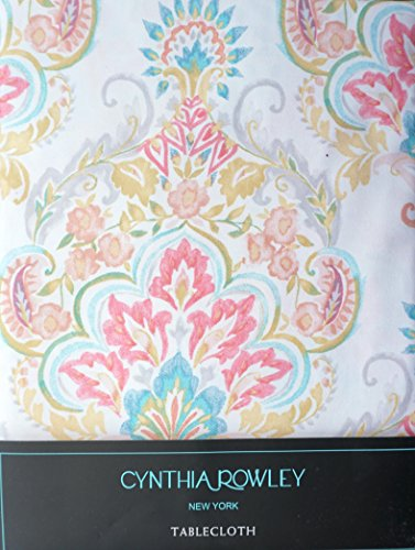 Cynthia Rowley Fabric Tablecloth Floral Medallion Pattern Yellow Pink Green Blue on White -- 70 Inches Round (Cynthia Linens Table Rowley)