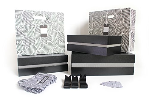 Fancy Black Crocodile Gift Box Kit - SET | 3 Boxes and 2 Gift Bags, Tissue Paper, & Cards | 1 Large & 2 Med Boxes & 2 Bags | Large: 12.5x10.5x3.75 in | Medium: 10.25x6x3.25 in (Miami Silver) (Manhattan Scarf Company compare prices)