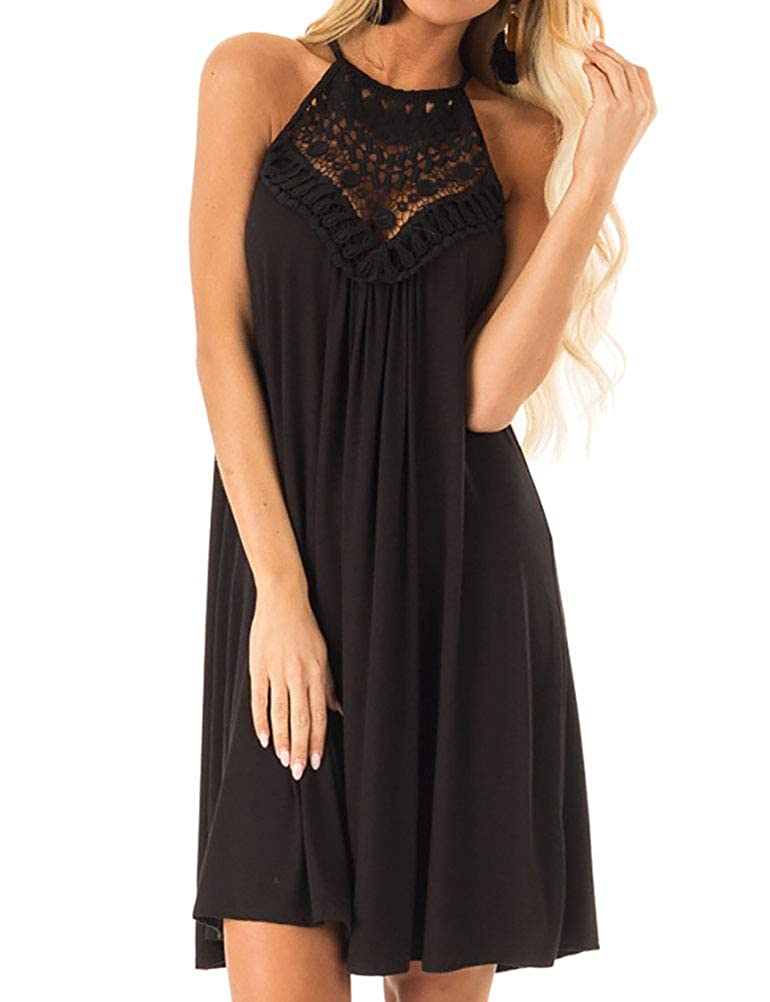 Black Phoenix_us WLLW Women Halter Sleeveless Front Hollow Out Crochet Lace Pleated Dress