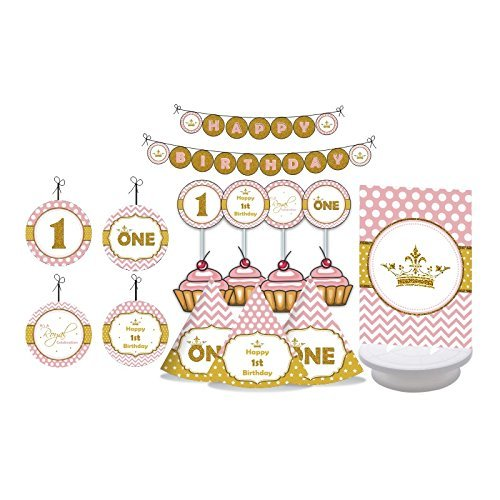 Princess 1st Birthday. Gold & Pink First Birthday for Girls. Fun to by One. One Year Old. Decorating Kit Includes Party Hats, Centerpieces, Bunting Banner, Danglers and Cupcake Toppers