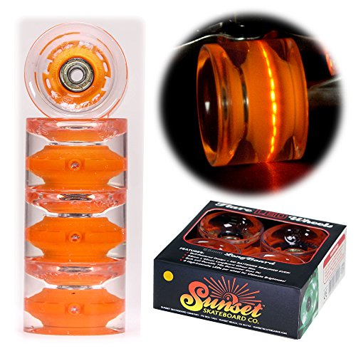 Sunset Longboard (Sunset Skateboards Orange 65mm Longboard LED Light-Up Wheels Set - Conical - with ABEC-9 Bearings (4-Pack))