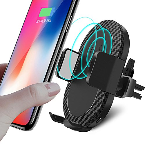 Wireless Car Charger, 2 in 1 10W Fast Wireless Charger Air Vent & Bracket Phone Holder for iPhoneX/8/8 Plus, Samsung Galaxy S9/S9+/Note 8/S8/S8 Plus/S7/S6 Edge All Qi Enabled. by DRTJ (Image #1)