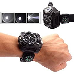 WALLER PAA Tactical CREE LED 1500Lm Dial Display Rechargeable Wrist Watch Flashlight Light