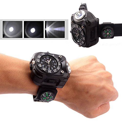 WALLER PAA Tactical CREE LED 1500Lm Dial Display Rechargeable Wrist Watch Flashlight Light - Diamond Tiffany Single Light