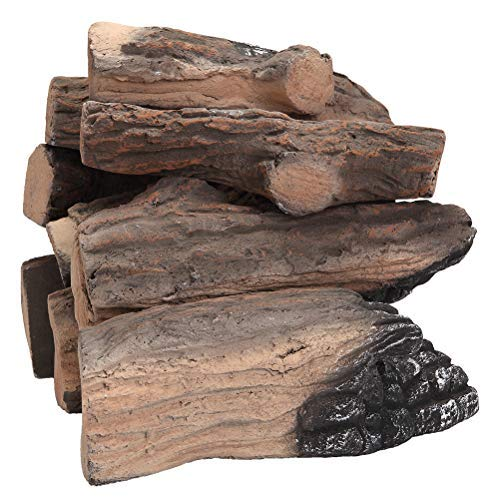 AUKENRN Large Gas Fireplace Logs| 9 Piece Set of Ceramic Wood Logs。 for All Types of Indoor, Gas Inserts, Ventless & Vent Free, Propane, Gel,Ethanol,Vented,Electric, Outdoor Fireplaces & Fire Pits, R