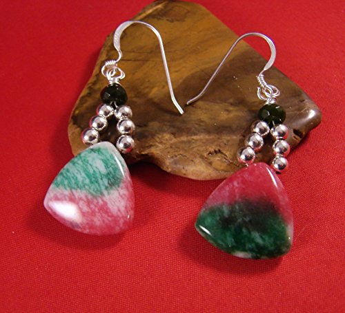 Candy Jade Triangular Earrings with Green Jade Gemstones Sterling Silver Beads SS