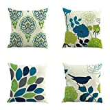 Pausseo New Ultra-Soft Microfiber Pillowcase Set Pattern Pillow Case Cushion Cover Sofa Home Car Decor - Hypoallergenic - Wrinkle Resistant (A+B+C+D)