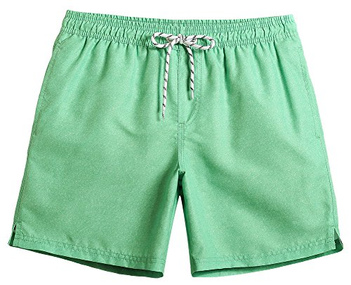 MaaMgic Mens Quick Dry Solid Swim Trunks With Mesh Lining Swimwear Bathing Suits 181118529, Green, XXX-Large(Waist-37