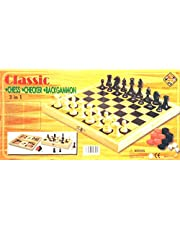 مجموعة ألعاب الألواح الخشبية 3 في 1، طاولة وشطرنج وداما - حجم كبير مقاس 50 × 50 سم