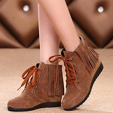 Toe Ankle 5 Boots Winter CN37 Wine 7 Comfort Shoes RTRY Booties Real Women's 5 Wedge Brown Casual For Leather Fall Round Heel US6 UK4 EU37 Black Boots 5 1O16Pqw