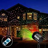 Landscape Lights,Yehard Projector Kits LED Remote Control Spotlights for Christmas Garden Stage Party (Red & Green)