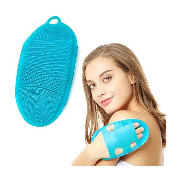 KACOOL Body Scrub, Soft Silicone Body Scrubber Exfoliating Glove Shower Cleansing Brush, SPA Feet Back Bathing Massage