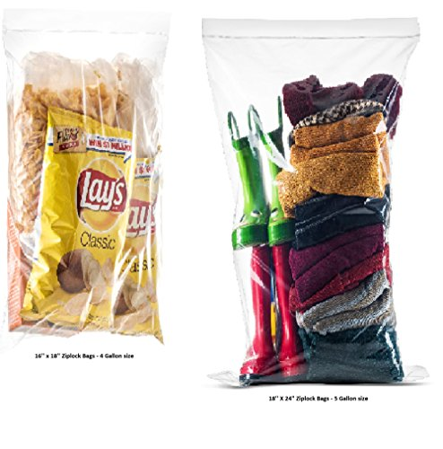 40 Count Extra Large Roaster Food Storage Zip lock Bags, 5 Gallon Strong Clear Heavy Plastic Bags 18
