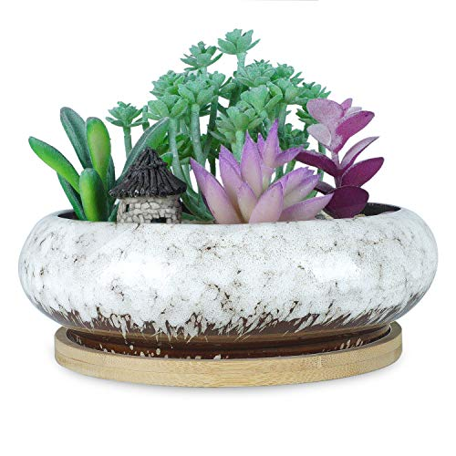 7.3 inch Vintage Round Ceramic Planter Pots Blue Glazed Succulent Holder Bonsai Flower Vase Garden Decorative Cactus Plants Stand Artificial Topiary Potted Container with Bamboo Tray, White