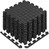 Yes4All EVA Interlocking Exercise Foam Floor Mats with Border - for Gyms  Yoga  Outdoor Workouts  Kids - Available in Black  Gray  Wood and Multicolors (12 & 36 SqFt)
