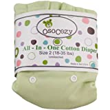 OsoCozy All in One Cloth Diaper - Unbleached - Snap - Green - Size 2