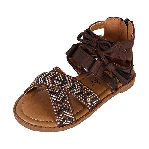 Chocolate Metallic Footwear - Nicole Miller New York Toddler Girls Studded Gladiator Sandal, Chocolate, 10 M US Toddler