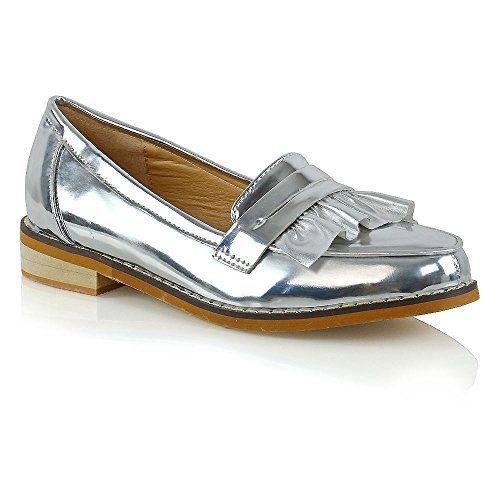 5374c758b ESSEX GLAM Womens Flat Slip On Silver Metallic Loafers Ruffle Work Mocassin  Shoes 8 B(