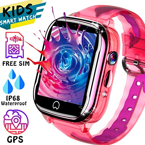 2019 Upgrade Kids Watch [Free SIM Card] - Waterproof Kids Smart Watch GPS Tracker with Two-Way Call SOS Anti-Lost Alarm Game Camera, Child Game Watch Boy Girl 3-12 Years Old for Holiday Birthday Gift