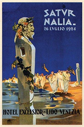 Saturnalia Venezia Italy Vintage Travel Art Print Poster 24x